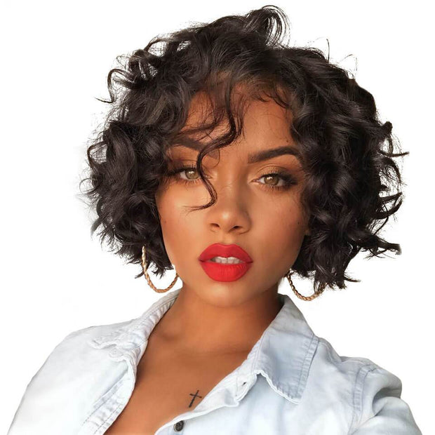 Pixie Cut Wig Brazilian Wavy Wave Hair Wig 8 inch Blonde 613  Short Human Hair Wigs Ali Grace 13x4 Lace Front Hair Wig Two Colors PC01