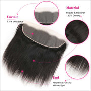 Peruvian Straight Hair 13*4 Lace Frontal Natural Color Remy Human Hair Lace Frontal Closure Can Be Bleached