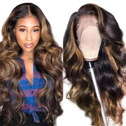 Ali Grace Body Wave HighLight Brown 13x4 Lace Front Human Hair Wigs 4x4 Lace Closure Wig for Women Ombre Human Hair Wigs AliGrace