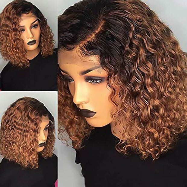 T1B/30 Curly Bob Wig 13x6 lace Frontal Human Hair Wigs Short Curly Bob Wig Pre Plucked for Women Free Shipping