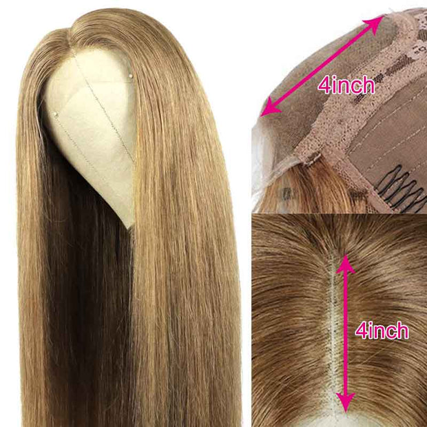 Brazilian Straight #27 Honey Blonde Lace Front Wig 4x4 Lace Closure Human Hair Wigs Pre-Plucked With Baby Hair Colored wig AliGrace