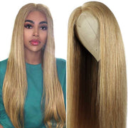 Ali Grace Brazilian Straight #27 Honey Blonde Lace Front Wig 4x4 Lace Closure Human Hair Wigs Pre-Plucked With Baby Hair Colored wig AliGrace