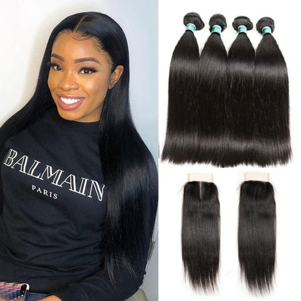 Ali Grace Brazilian Straight Human Hair 4 Bundles With Lace Closure Free and Middle Part 100% Virgin Human Hair Bundles with Closure Brazilian Hair With Closure AliGrace