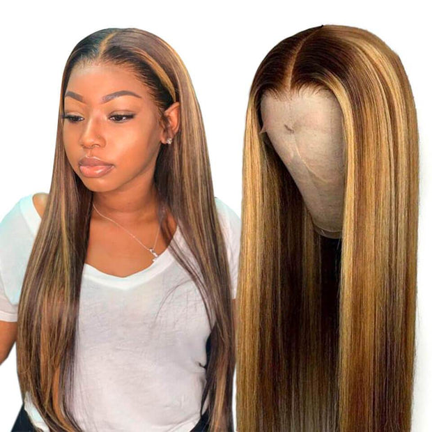 13x6 Honey Blonde Brown Ombre Lace Front Wigs Highlight Color 4/27 Pre plucked Hairline With Baby Hair