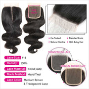 Ali Grace 100% Virgin Human Hair Closure Peruvian Body Wave  4x4  Lace Closure Pre-plucked Hairline with Baby Hair