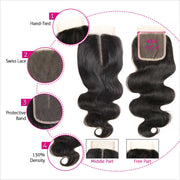 Human Hair 4 Bundles With Closure-11