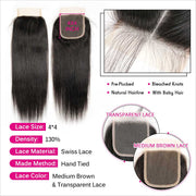 Peruvian Straight Hair 4*4 Lace Closure Medium Brown Swiss Lace Closure Can Be Dyed