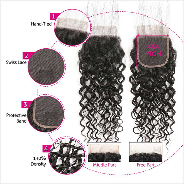Water Wave 4x4 Lace Closure-3