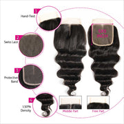 Ali Grace Malaysian Loose Wave 5*5 Lace Closure Free Middle Part Closure With Baby Hair Swiss Lace Virgin Human Hair