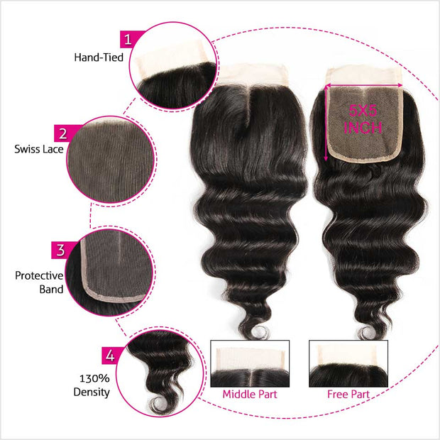 Brazilian Loose Wave 5*5 Lace Closure
