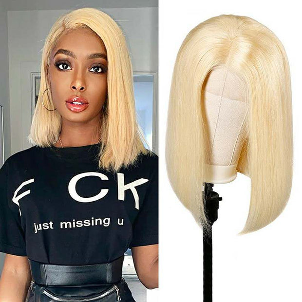 Ali Grace 613 Blonde Human Hair Wig Bob Lace Front Wigs Pre Plucked Straight Human Hair Wigs For Black Women