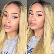 Brazilian Straight Hair Bundles with Frontal T1B/613 Color Straight 3 Bundles With Frontal Ombre Hair Weaves T001