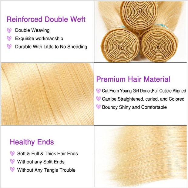 Ali Grace Blonde Straight Human Hair 4 Bundles