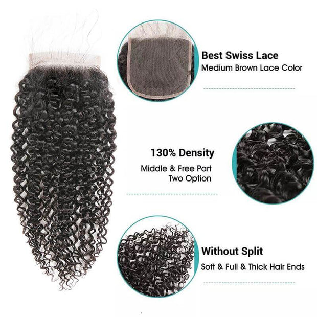 Ali Grace Kinky Curly Hair Bundles With 6x6 Lace Closure 100% Brazilian Human Virgin Hair Grade 10A