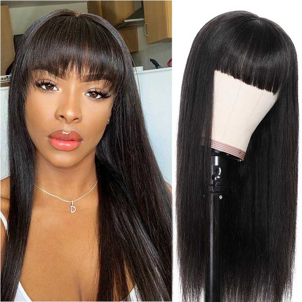 Ali Grace Straight Human Hair Wigs with Bangs Natural Look 13x4 Lace Front Wig 150% Density Brazilian Straight Lace Front Wig with Bangs