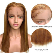 Ali Grace Honey Blonde Brown Ombre Human Hair Wig Brazilian Straight Lace Front Wigs 13x6 Highlight Color 6/27 Ombre Blonde Wig