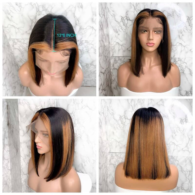 Straight Bob Lace Front Wig P1B/30 Ombre 13x6 Swiss Lace Front Short Bob Wig Human Hair Wigs 8-16 Inch Available