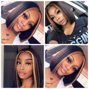 Straight Bob Lace Front Wig P1B/30 Ombre 13x6 Swiss Lace Front Short Bob Wig Human Hair Wigs
