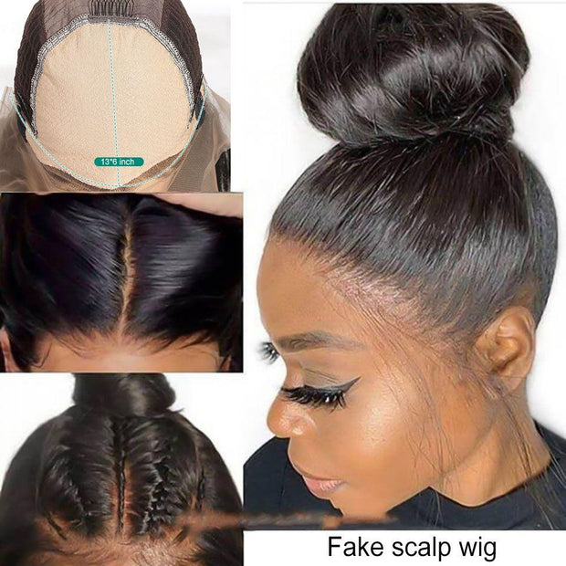 Premade Straight Fake Scalp Wig Lace Front Human Hair Wigs for Black Women Invisible Knots Fake Scalp Lace Front Wigs