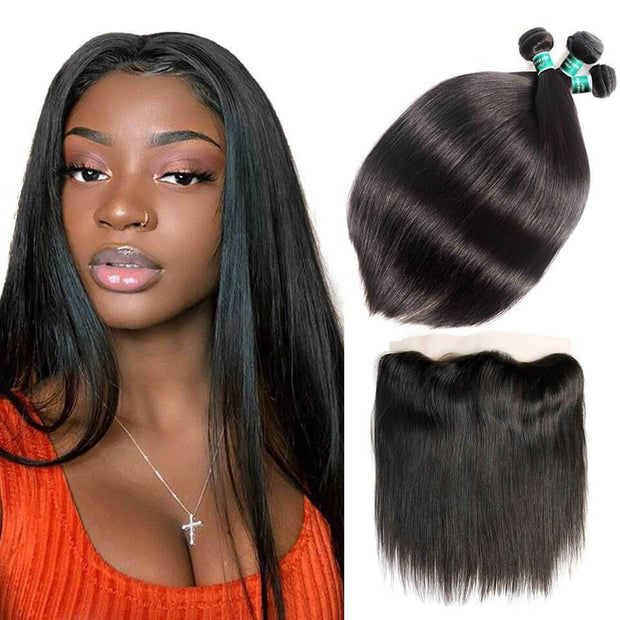 Straight Hair Bundles With Lace Frontal-8