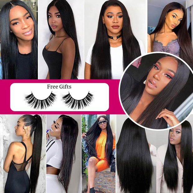 Ali Grace Brazilian Straight Hair Bundles With 6x6 Lace Closure 100% Human Virgin Hair With Swiss Lace Closure