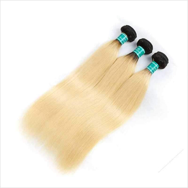 Ali Grace Straight Hair With Closure 100% Virgin Human Hair T1B/613 Color Human Hair With Closure