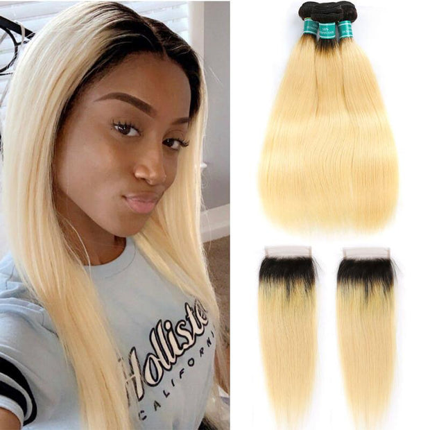 Brazilian Straight Hair Bundles with Closure Ombre T1B/613 Color Straight Human Hair Bundles With Closure 3 Bundles with Closure