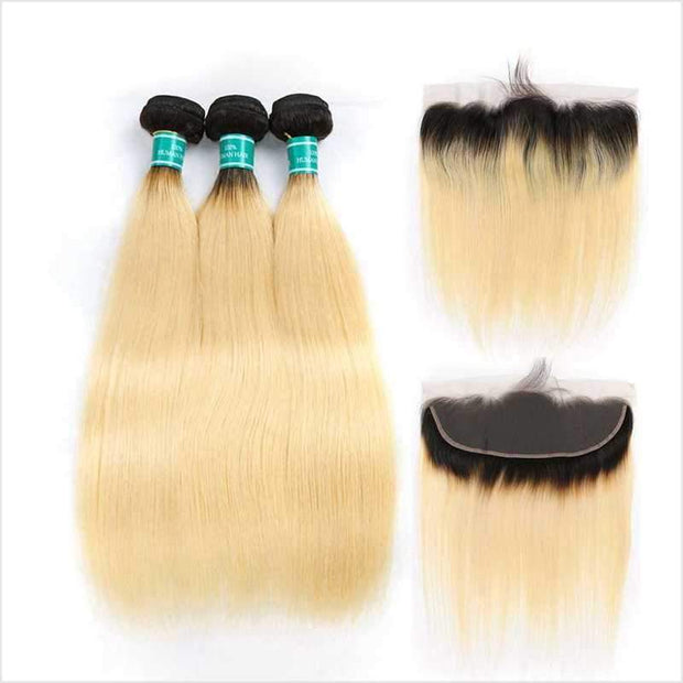 Ali Grace Straight Human Hair T1B/613 Color 3 Bundles With Frontal 13*4 Ear to Ear Virgin Human Hair