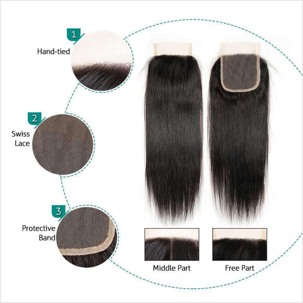 Ali Grace Malaysian Straight Hair Closure Middle Free Part 4*4 Hand Tied Swiss Lace Closure 100% Virgin Human Hair