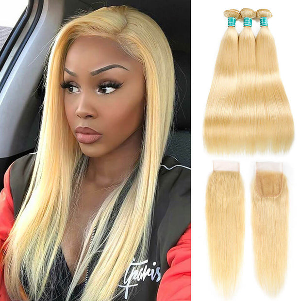 613 Straight Hair Bundles With Lace Closure-1