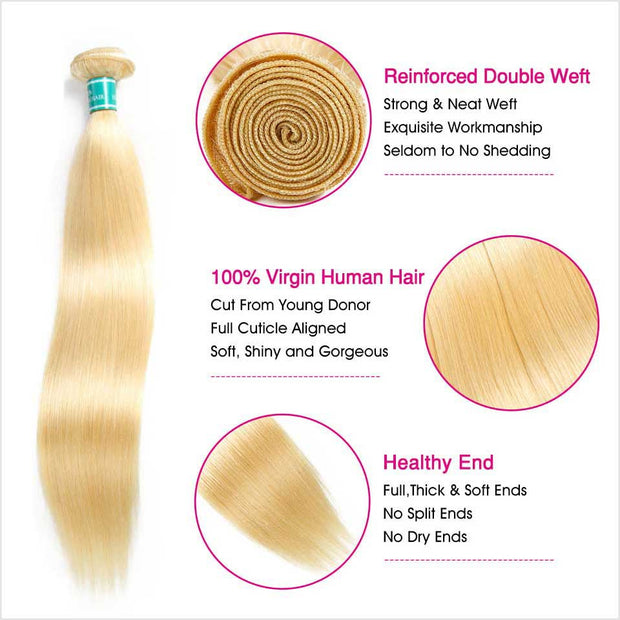 613 Blonde Color Virgin Straight Human Hair 1 Bundles-3