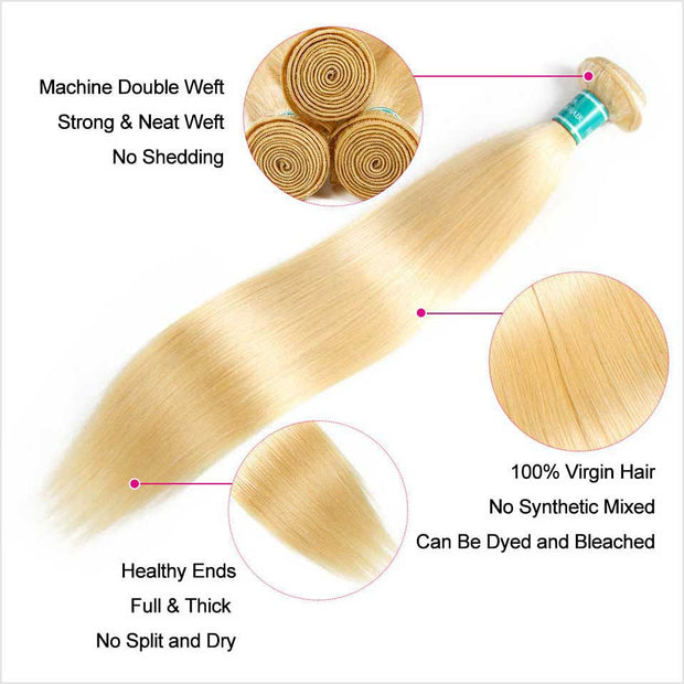 Ali Grace 613 Blonde Straight Human Hair 3 Bundles Deal 10a Grade Brazilian Virgin Human Hair Extensions
