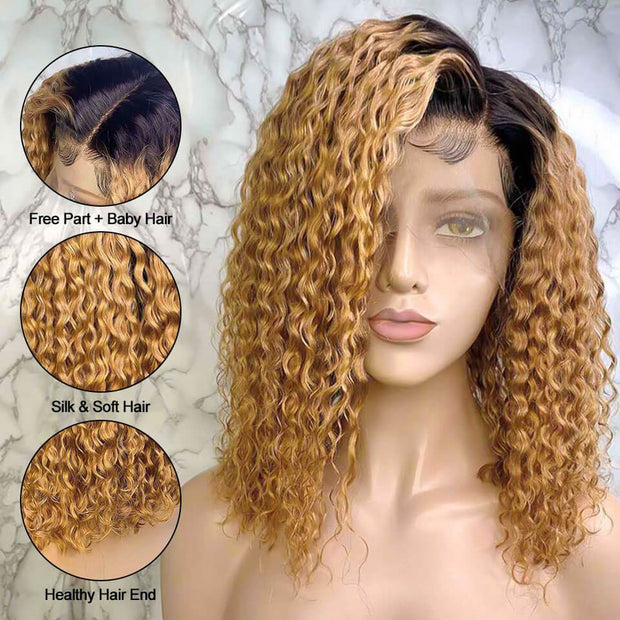 New Arrival Bob Curly Lace Frontal Wig T1B/27 Human Hair Wigs Ombre 13*6 Lace Frontal Wig Free Shipping