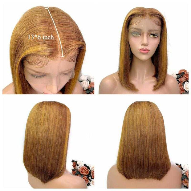 Ali Grace Hair 13x6 Ombre Brazilian Straight Bob Lace Front Wigs Pre Plucked 150% 180% Ombre Short Human Hair Wigs Remy Hair