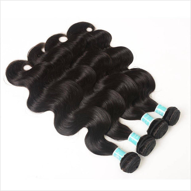 Human Hair 4 Bundles With Closure-10