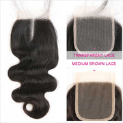 Ali Grace Malaysian Body Wave Hair 4*4 Lace Closure Middle Free Part Medium brown Transparent Lace Virgin Human Hair