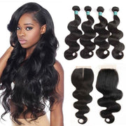 Ali Grace Peruvian Body Wave Hair With Closure 12a Grade Unprocessed Virgin Human Hair 4 Bundles With Closure Peruvian Hair With Closure AliGrace