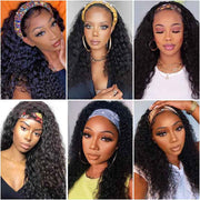 Ali Grace Kinky Curly Headband Wig Human Hair Full Machine Made Wigs For Black Women Natural Color Headband Wig AliGrace