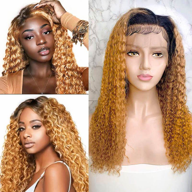 Ali Grace Ombre Curly Human Hair Wigs 13*6 T1b 27 Ombre Color Lace Frontal Wigs Full Density