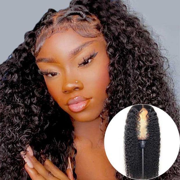 Malaysian Kinky Curly Hair 3 Bundles With 13*4 Frontal