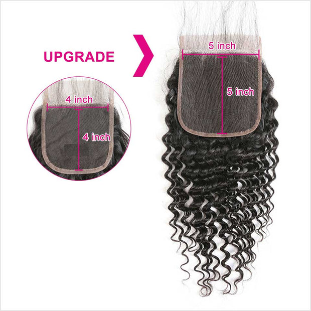 Brazilian Deep Wave 5*5 Lace Closure Middle Part Medium Brown Deep Wave Swiss Lace Closure 130% Density