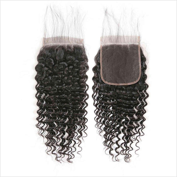 Malaysian Deep Wave 5*5 Lace Closure Free/Middle Part Deep Wave Human Hair Closure 130% Density