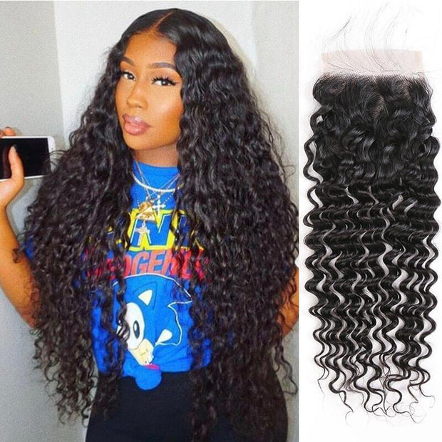 Peruvian Deep Wave 5*5 Lace Closure Suit Skin Well Human Hair Lace Closure Can Do Any Part