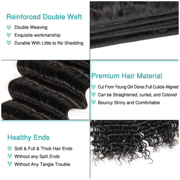 Deep Wave Hair Bundles With Lace Frontal-10
