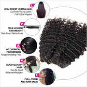 Ali Grace Hair Brazilian Deep Wave Hair Bundles With 5x5 Lace Closure 10A Virgin Human Hair Bundnles with Closure