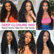 Ali Grace Wigs Brazilian Deep Wave Wig with Baby Hair 4X4 Deep Wave Closure Wig Pre-plucked Lace Closure Human Hair Wigs