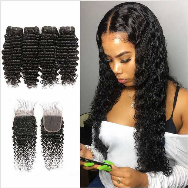 Deep Wave Hair With Closure-1