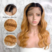 13x6 Lace Front Human Hair Wigs Body Wave Human Hair Lace Front Wigs Ombre Color T1B/27 Pre Plucked With Baby Hair C001