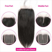 Straight Hair 4*4 HD Lace Closure 8inch-22inch Unprocessed Virgin Human Hair Lace Closure No Shedding