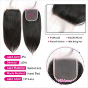 HD Straight Hair 4*4 Lace Closure Free part Suit Skin Well HD Lace Closure 5*5 Straight Hair Closure Can Be Dyed HD Lace Closure AliGrace